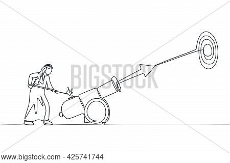 Continuous One Line Drawing Young Arab Male Worker Fire Cannonball Wick To Hit Business Goal. Succes