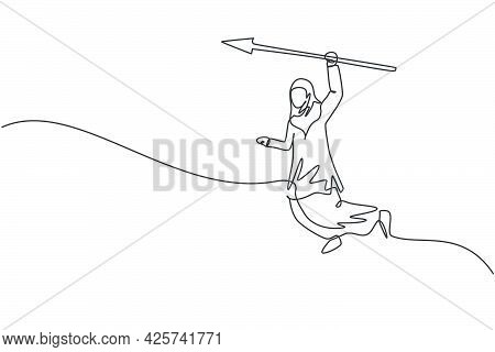 Continuous One Line Drawing Young Arabic Female Worker Jumping High While Holding Arrow Spear. Succe