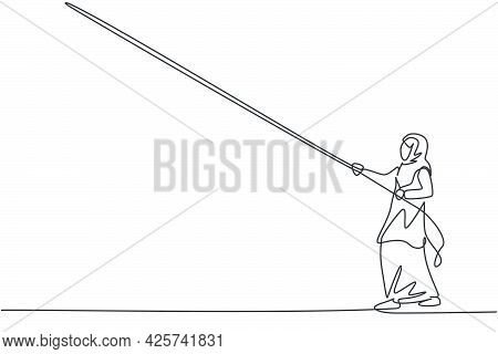 Single Continuous Line Drawing Of Young Professional Female Arab Entrepreneur Pulling The Rope To Re