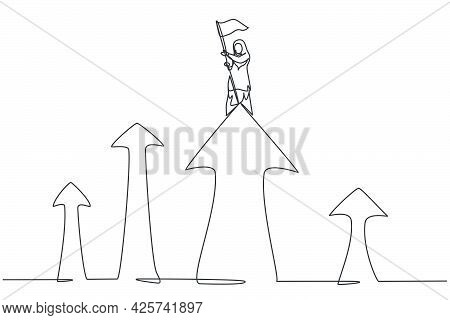 Single One Line Drawing Young Arabian Businesswoman Planted Flag On The Top Of Arrow Symbol. Busines