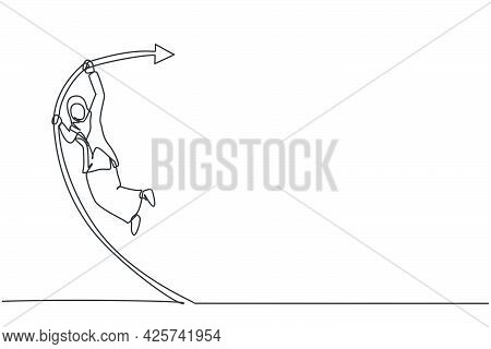 Single One Line Drawing Of Young Arabian Businesswoman Jumping High With Pole Vault. Business Financ