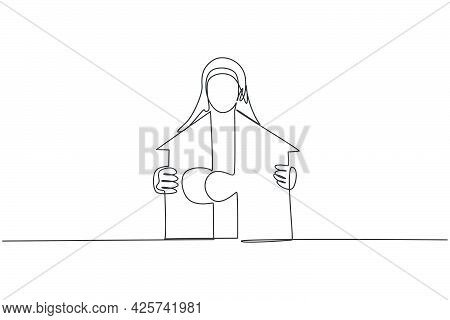Continuous One Line Drawing Of Young Arabic Female Worker Unite The Puzzle Into House Building. Succ