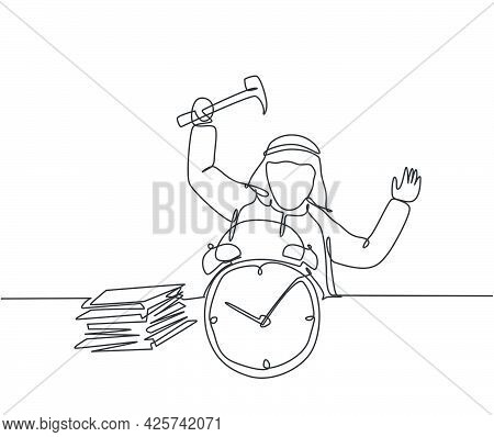 Single One Line Drawing Of Young Stressful Arabian Businessman Hit The Alarm Clock With Hammer. Busi