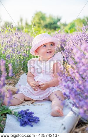Kids On Lavender Field Happy. Harmony With Nature.