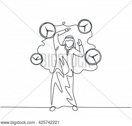 Single One Line Drawing Of Young Stressful Arabian Business Man Surrounded By Flying Clocks. Minimal