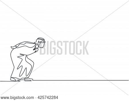Single One Line Drawing Of Young Arabian Business Man Bent Over Because Work Overload. Business Time