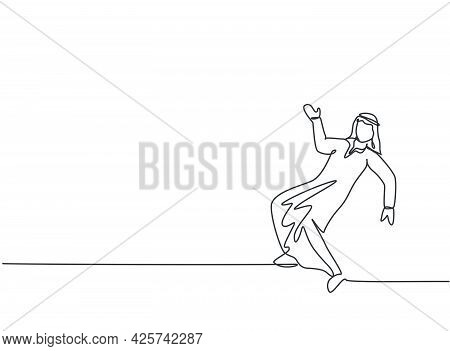 Single One Line Drawing Of Young Arabian Business Man Dancing On The Street. Happy With His Business