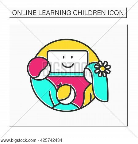 Online Education Color Icon. Learning Together With Parents. Home School And Remote Education Concep