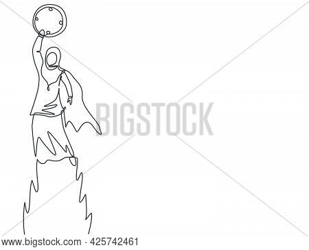 Continuous One Line Drawing Young Arab Female Worker Flying To The Sky To Reach Analog Clock. Minima