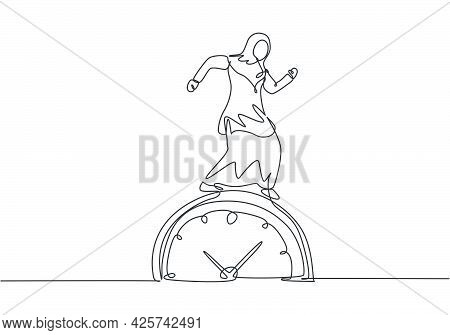 Single One Line Drawing Of Young Arabian Business Woman Walking On The Big Analog Clock. Minimalism