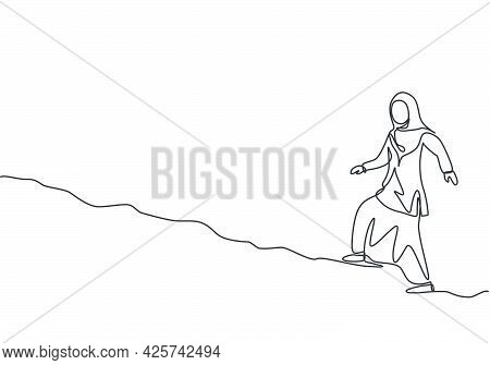 Single One Line Drawing Of Young Arabian Business Woman Walking On The Uphill Street. Business Chall