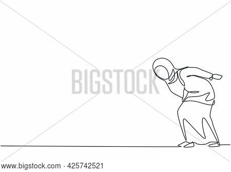 Single One Line Drawing Of Young Arabian Business Woman Bent Over Because Work Overload. Business Ti