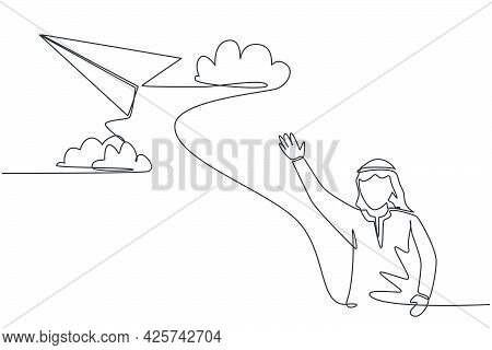 Single Continuous Line Drawing Young Arabian Business Man Waving Hand To Flying Paper Plane. Profess