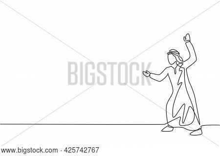Single One Line Drawing Of Young Arab Business Man Pose Ready To Hold Attack From Enemy Gesture. Bus