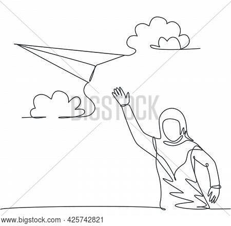 Single Continuous Line Drawing Young Arab Business Woman Waving Hand To Flying Paper Plane. Professi