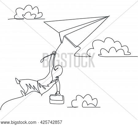 Single Continuous Line Drawing Young Arab Business Woman Holding Rope Tight On Flying Paper Plane. B