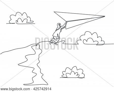 Continuous One Line Drawing Young Arab Female Worker Jumping To Flying Paper Plane From Top Cliff. B