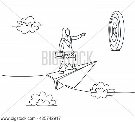 Continuous One Line Drawing Young Arab Female Worker On Flying Paper Plane Ready To Hit Target. Succ