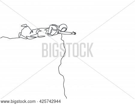 Single One Line Drawing Young Arab Business Woman Lend A Hand To Reach Colleague From Cliff. Busines