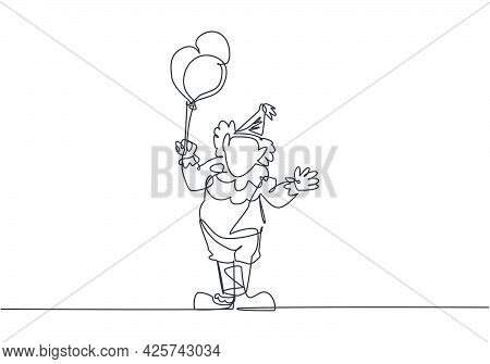 Single Continuous Line Drawing The Male Clown Stands While Holding Several Balloons In His Right Han