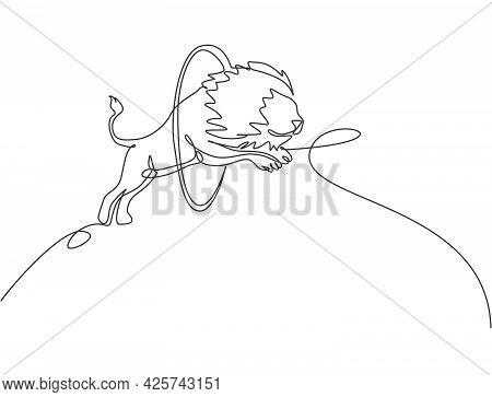 Single One Line Drawing Of A Lion Jumping Into The Circle At A Circus Show. The Trainer Is Watching