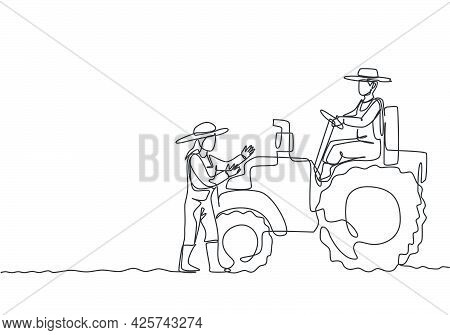 Single Continuous Line Drawing Male Farmer Drive A Tractor To Plow The Fields And Female Farmers Hel