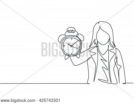 Single One Line Drawing Of Young Business Woman Holding Analog Alarm Clock With Her Hand. Time Manag