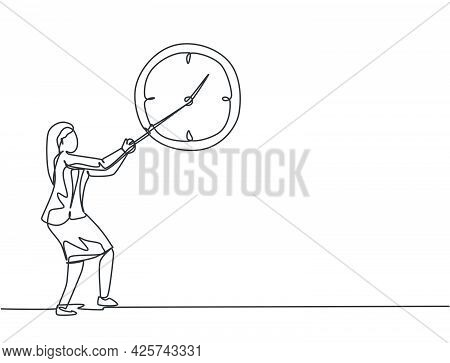 Continuous One Line Drawing Young Woman Worker Pulling Clockwise Of Big Analog Wall Clock With Rope.