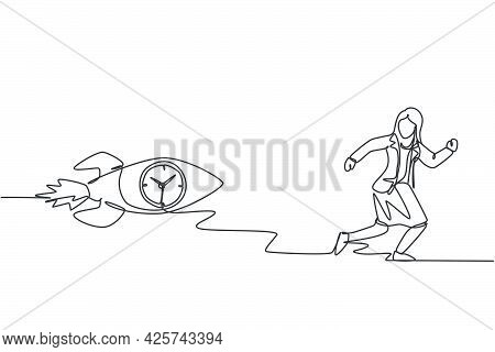 Single One Line Drawing Of Young Business Woman Chased By Flying Rocket Analog Clock Inside. Rush Ho