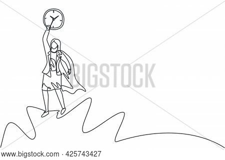 Continuous One Line Drawing Young Woman Worker With Wing Flying To The Sky To Reach Analog Clock. Mi