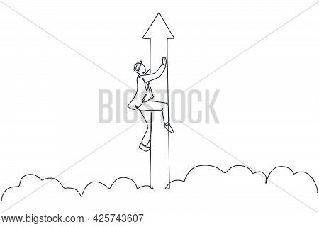 Single One Line Drawing Young Business Man Holding The Flying Up Arrow Sign Through The Cloud. Busin