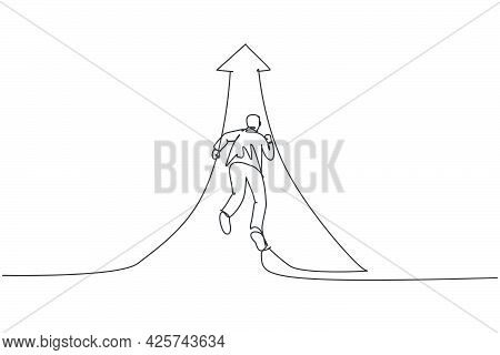 Continuous One Line Drawing Of Young Businessman Running Fast To Increase Up Arrow Direction. Succes