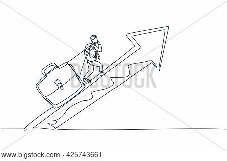 Single One Line Drawing Of Young Male Hard Worker Pulling Briefcase Up To The Rising Arrow. Business