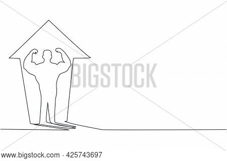 Continuous One Line Drawing Of Young Muscular Man On Increase Top Arrow Sign On The Wall. Success Bo