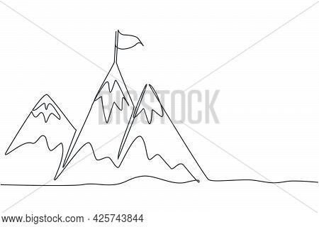 Single Continuous Line Drawing Mountains With Target Flag On The Top. Reaching And Climbing Business