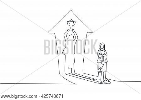 Continuous One Line Drawing Young Female Entrepreneur With Lifting Trophy Shadow Reflected On The Wa