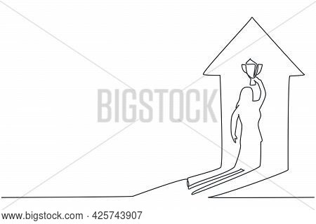 Continuous One Line Drawing Shadow Of Young Female Entrepreneur Lifting The Trophy Reflected On The