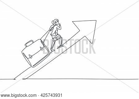 Single Continuous Line Drawing Young Beauty Businesswoman Pulling Giant Leather Briefcase To Arrow U