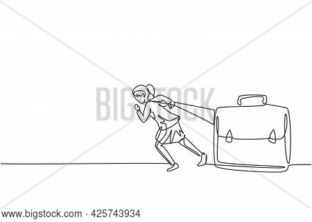 Single One Line Drawing Young Smart Businesswoman Pulling Big Leather Briefcase With All One's Might