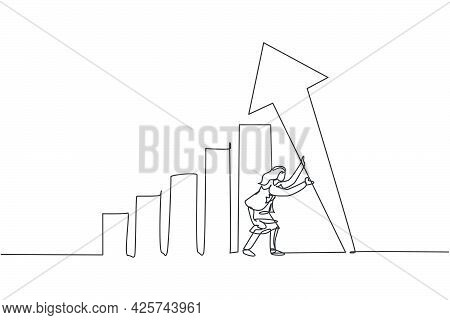 Single One Line Drawing Of Young Smart Businesswoman Erecting Pole Arrow Symbol Up. Business Finance