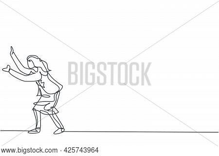 Continuous One Line Drawing Of Young Female Entrepreneur Pose Holding Protection Gesture. Success Bu