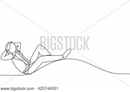 Single One Line Drawing Of Young Smart Male Employee Relaxing And Relaxing. Businessman Take A Rest