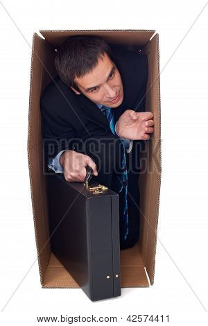 Businessman Inside Of A Cardbox