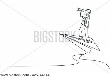 Single Continuous Line Drawing Young Business Man Flying With Paper Airplane To Analyze Business Gro