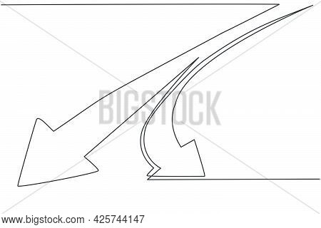 Continuous One Line Drawing Of Branch Path Wat With Arrow Symbol. Way Of Success Option Direction Mi