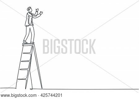 Single One Line Drawing Of Young Smart Male Repairman Standing Steady On Tall Ladder. Handyman Fix H