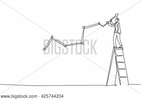 Continuous One Line Drawing Of Young Handsome Male Worker Draw Business Sales Growth On Wall. Succes