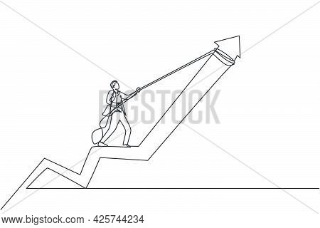 Single Continuous Line Drawing Of Young Business Man Pulling Arrow Graph To Rise Up. Attractive Prof