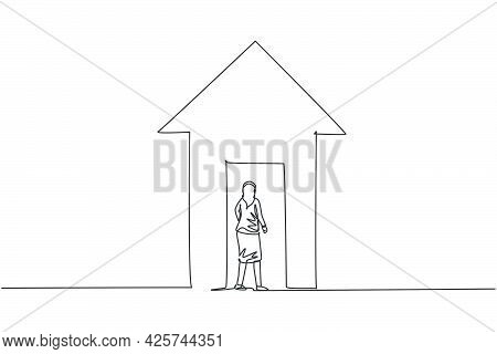 Single Continuous Line Drawing Of Young Female Manager Enter Up Arrow Symbol Building. Professional