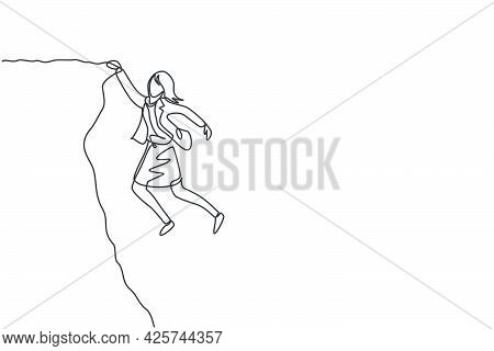 Continuous One Line Drawing Of Young Female Worker Struggling And Holding Edge Of Cliff. Success Bus